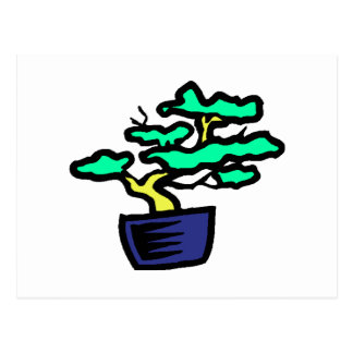 Bonsai Abstract Blue Pot Graphic Image Postcard