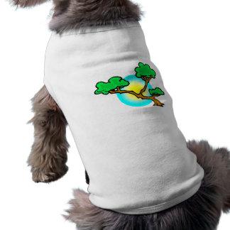 Bonsai Against Sun Abstract Graphic Image Dog T Shirt