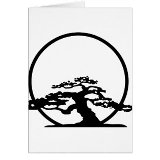 Bonsai against sun outline image graphic design card