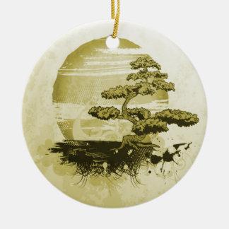 Bonsai and Sun Ceramic Ornament