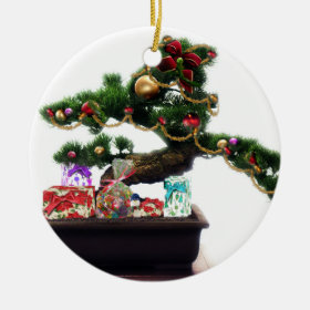 Bonsai Christmas Tree Ceramic Ornament