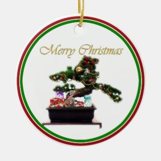 Bonsai Christmas Tree Ceramic Ornament