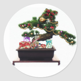 Bonsai Christmas Tree Classic Round Sticker