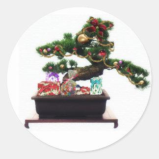 Bonsai Christmas Tree Classic Round Sticker