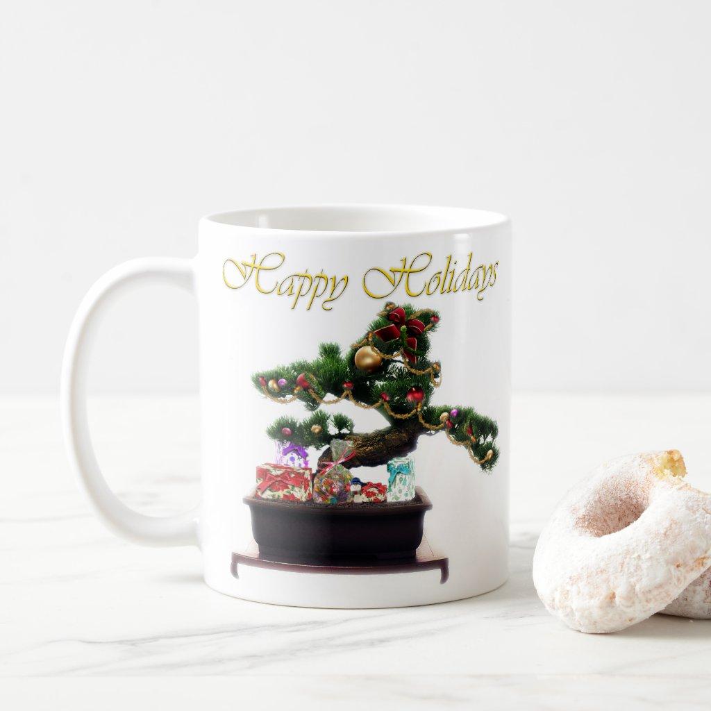 Bonsai Christmas Tree Frosted Glass Coffee Mug