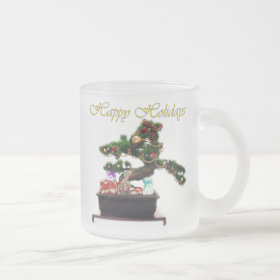 Bonsai Christmas Tree Frosted Glass Coffee Mug
