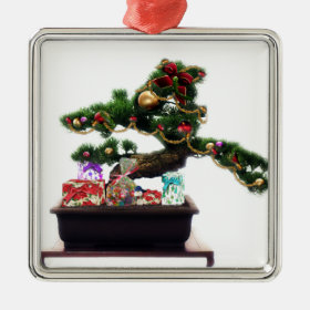 Bonsai Christmas Tree Metal Ornament