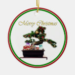 Bonsai Christmas Tree Double-Sided Ceramic Round Christmas Ornament