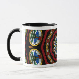 Bonsai Glass in Red Blue and Gold Mug