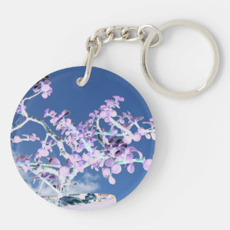 Bonsai inverted purple white against sky portulaca keychain