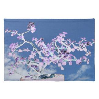 Bonsai inverted purple white against sky portulaca placemat