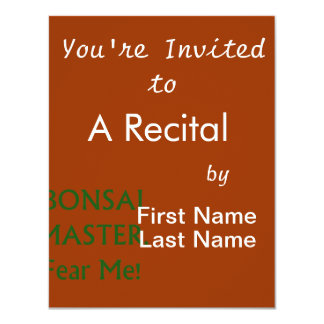 Bonsai master Fear Me Green Text Personalized Invite