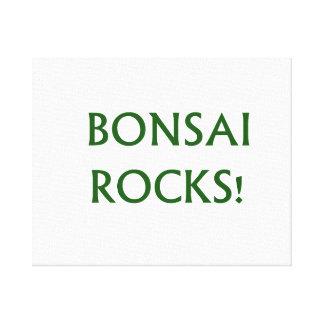 Bonsai Rocks Slogan saying done in Green Text Canvas Print