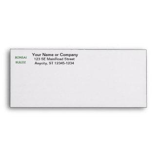 Bonsai Rules Green Text Envelopes