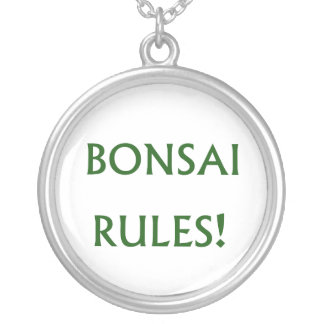Bonsai Rules Green Text Silver Plated Necklace
