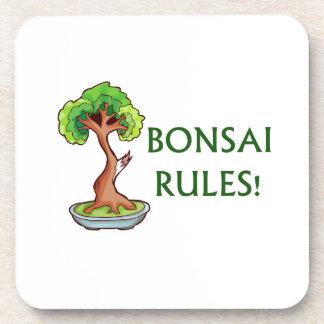 Bonsai Rules Shari Tree Graphic and text design Beverage Coasters