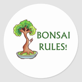 Bonsai Rules Shari Tree Graphic and text design Round Stickers