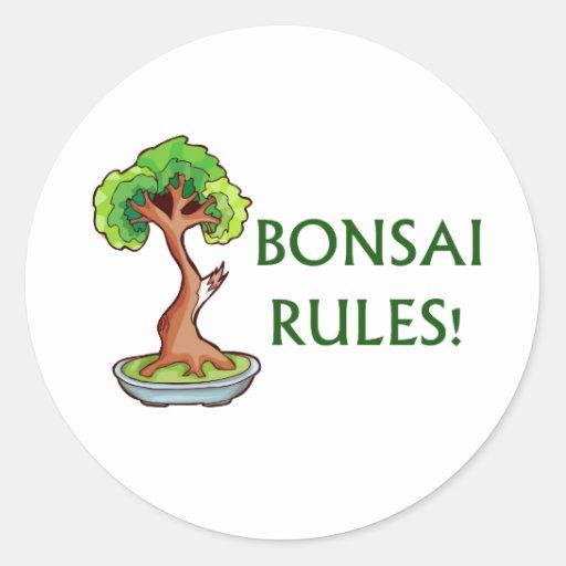 Bonsai Rules Shari Tree Graphic and text design Classic Round Sticker