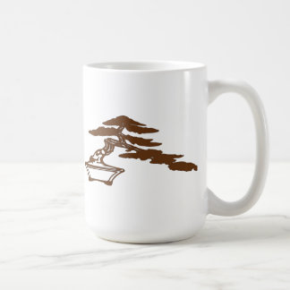 Bonsai silhouette in the semi-cascade style (brown coffee mug