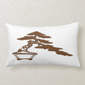 Bonsai silhouette, semi-cascade style (brown ink) lumbar pillow