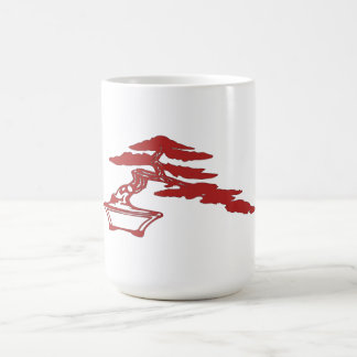 Bonsai silhouette, semi-cascade style (red) coffee mug