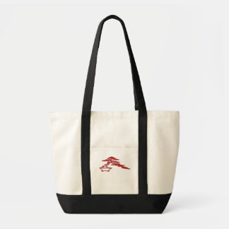 Bonsai silhouette, semi-cascade style (red) tote bag