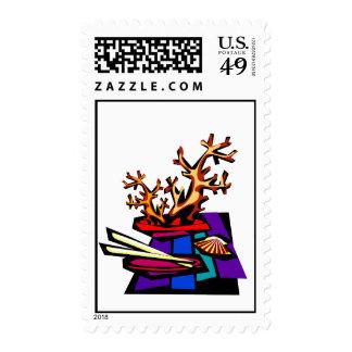 Bonsai Still Live Graphic Image Postage Stamp