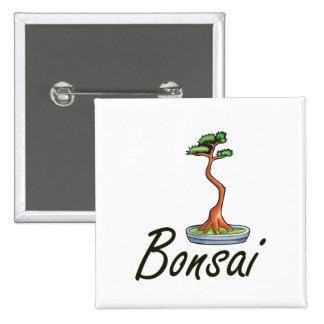 Bonsai text literati graphic pinback button