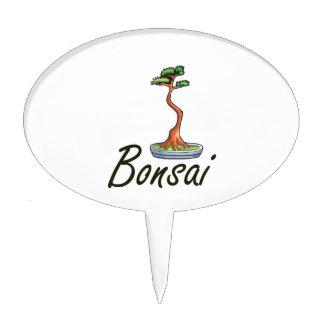 Bonsai text literati graphic oval cake pick