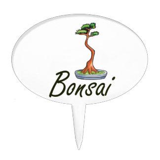 Bonsai text literati graphic cake topper