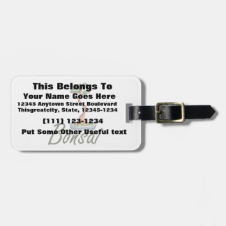 Bonsai text literati graphic luggage tag