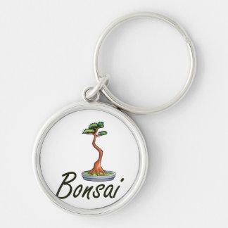 Bonsai text literati graphic Silver-Colored round keychain