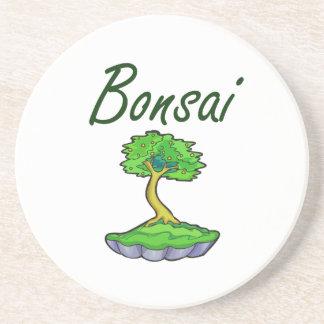 Bonsai text upright tree graphic drink coaster