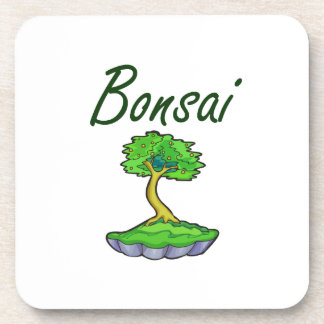 Bonsai text upright tree graphic beverage coasters