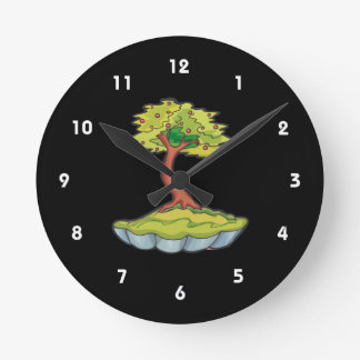 bonsai tree informal upright in scallop pot.png round clock