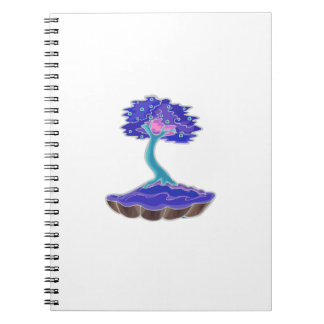 bonsai tree invert informal upright in scallop pot notebook