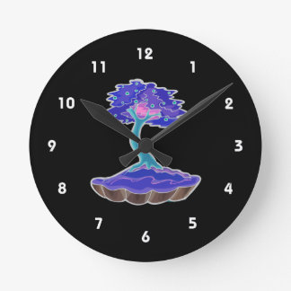 bonsai tree invert informal upright in scallop pot round clock