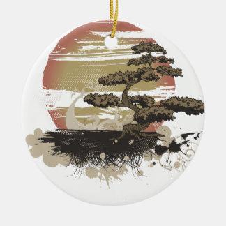Bonsai Tree Double-Sided Ceramic Round Christmas Ornament