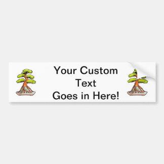 bonsai tree root over rock graphic bumper sticker