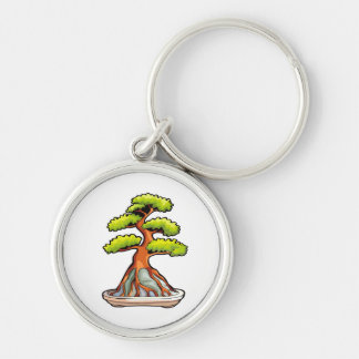 bonsai tree root over rock graphic keychain