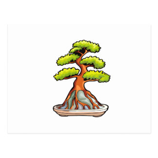 bonsai tree root over rock graphic postcard