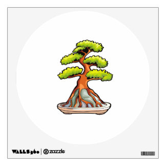 bonsai tree root over rock graphic wall sticker