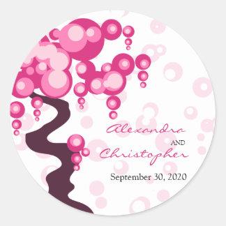 Bonsai Tree Stylish Bride and Groom Announcement Classic Round Sticker