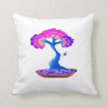 bonsai tree with shari graphic blue.png throw pillow