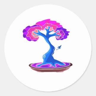bonsai tree with shari graphic blue png round sticker