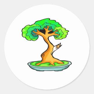 bonsai tree with shari graphic png round stickers