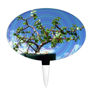 Bonsai tree with spiral effect overlay cake topper