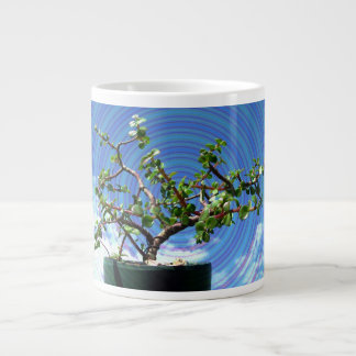 Bonsai tree with spiral effect overlay large coffee mug