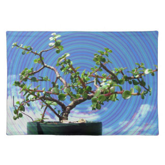 Bonsai tree with spiral effect overlay placemat