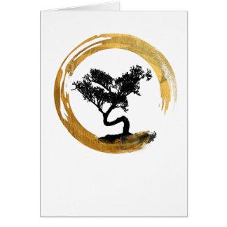Bonsai Tree. Zen Enso Circle. Watercolor Art Card